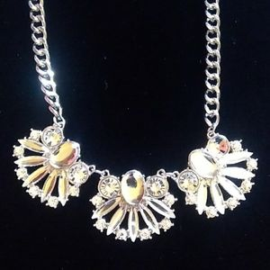 NWOT SilverTone Navette &Round Rhinestone Necklace
